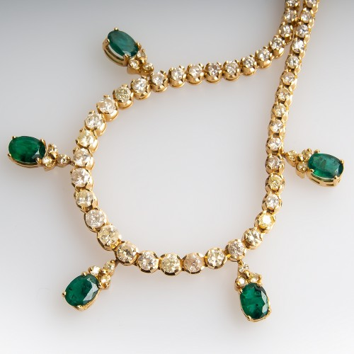 Emerald & Graduated Diamond Necklace 14K Gold 16-Inch
