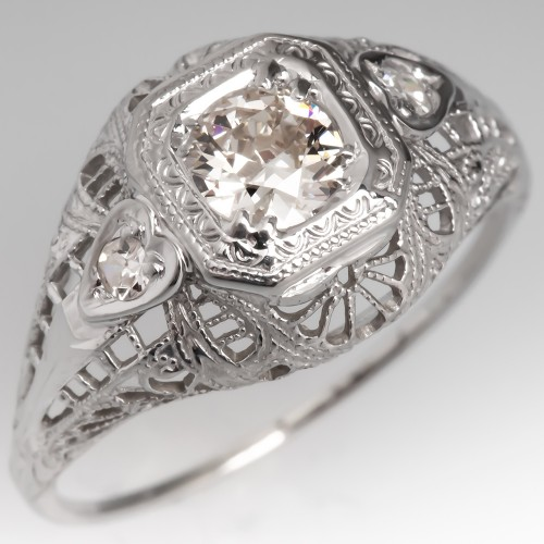 Antique Platinum Filigree Diamond Engagement Ring