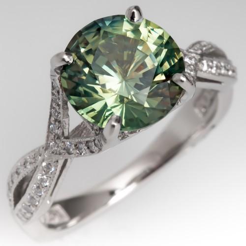 No Heat 3 Carat Green Sapphire Tacori Engagement Ring Platinum