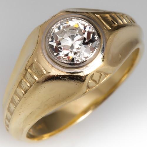 Mens Vintage 1 Carat I/VVS2 Old Euro Diamond Ring 14K