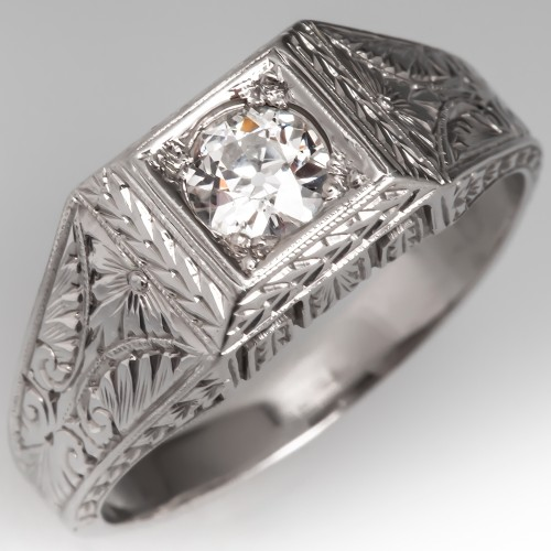 Vintage Engraved Mens Diamond Band Ring 18K White Gold