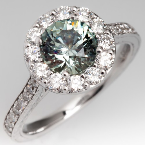 No Heat Montana Sapphire & Diamond Halo Engagement Ring