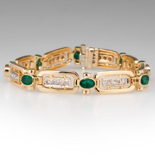 Emerald & Diamond Fancy Link Bracelet 14K Yellow Gold