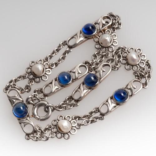 Antique Sapphire & Natural Pearl Bracelet Platinum & 18K Gold