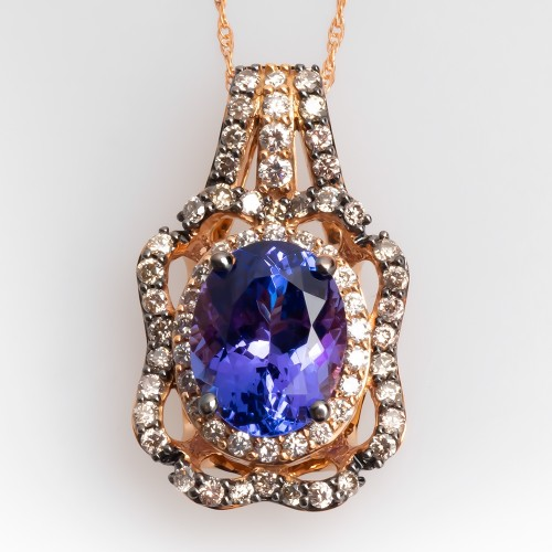 LeVian Blueberry Tanzanite Pendant in Strawberry Gold w/ Vanilla & Chocolate Diamonds