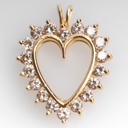 Yellow Gold & Round Brilliant Diamond Heart Pendant