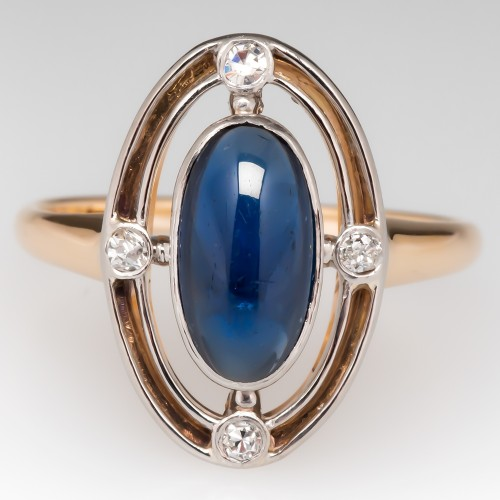 Vintage Compass Motif Lab Sapphire and Diamond Ring