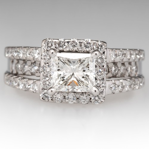 1 Carat Princess Cut Diamond Halo Engagement Ring 14K