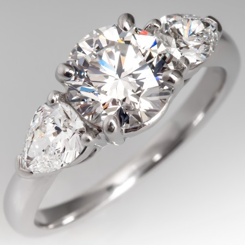 1.5 Carat Round Brilliant Diamond Engagement Ring w/ Pear Accents