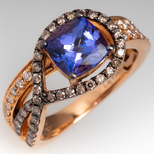LeVian Blueberry Tanzanite Ring w/ Chocolate and Vanilla Diamonds in Strawberry Gold
