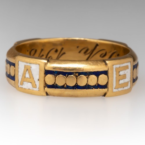 September 1918 Enamel Unisex Band Ring 18K Yellow Gold