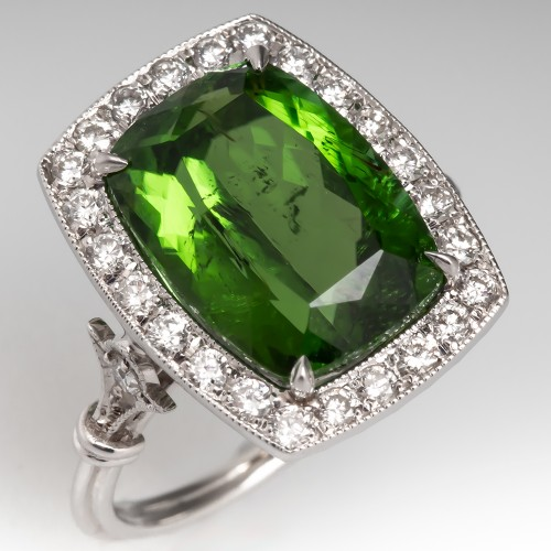 Green Tourmaline & Diamond Cocktail Ring 18K Low Profile