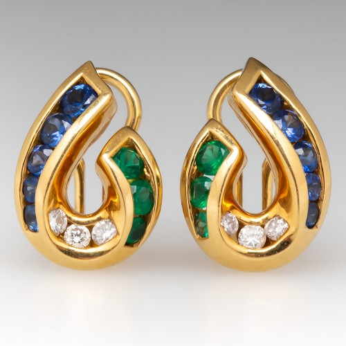 Krypell Sapphire Emerald Diamond Earrings 18K Gold