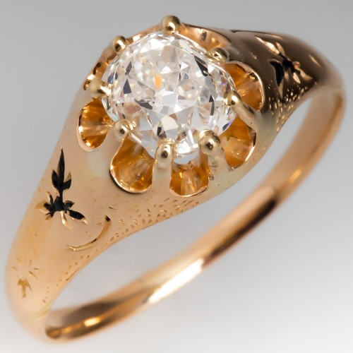 Victorian Old Mine Cut Diamond Solitaire Engagement Ring 18K Gold GIA Cert
