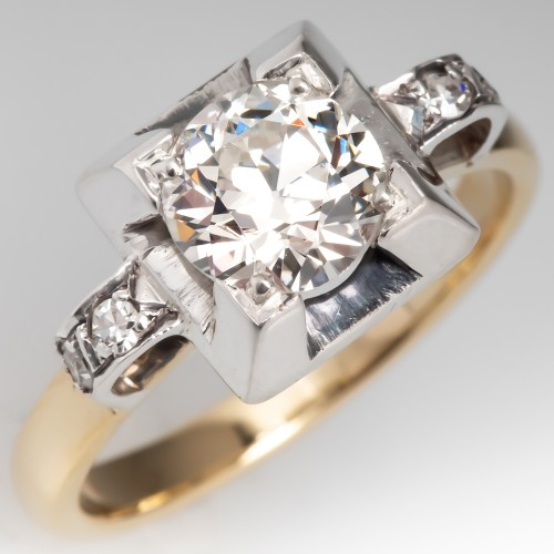 Vintage Geometric Engagement Ring Transitional Cut Diamond J/VVS2 GIA Certified