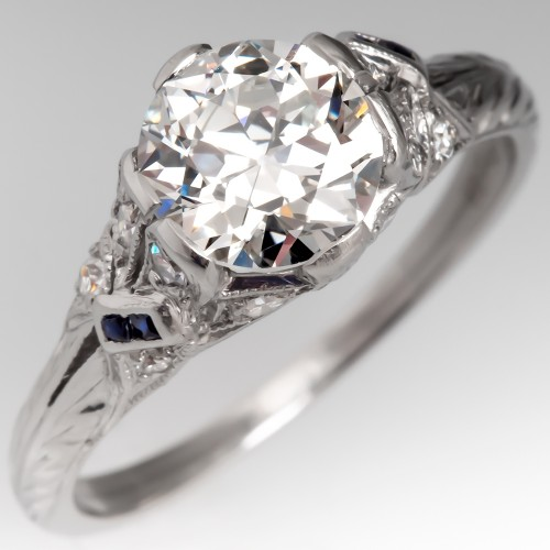 Beautiful 1920's Detailed Old European Cut Diamond Engagement Ring Platinum GIA