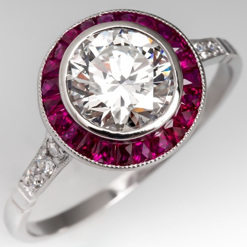 Stunning Bezel Set Diamond Engagement Ring w/Ruby Halo Handmade Platinum