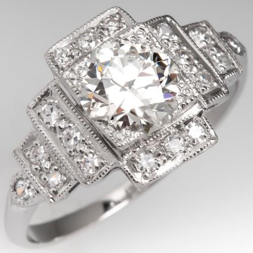 1 Carat Transitional Cut Diamond Art Deco Engagement Ring Platinum