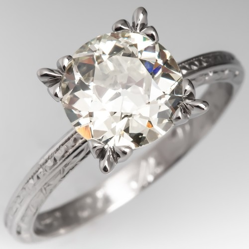 2 Carat Old Euro Diamond Solitaire Engagement Ring 1944 Wedding Band