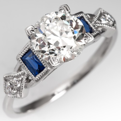 Old European Cut Diamond Engagement Ring w/ Sapphire Accents Platinum