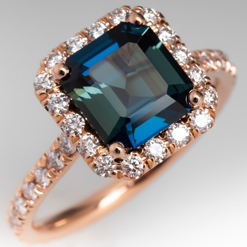 Blue Green Sapphire Diamond Halo Rose Gold Engagement Ring