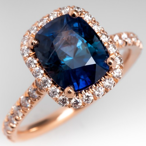 Cushion Cut Blue Green Sapphire Rose Gold Halo Engagement Ring