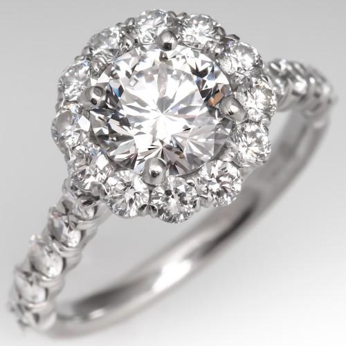 1.5 Carat E / VS2 Round Brilliant Halo Diamond Engagement Ring