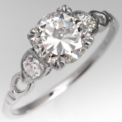 Low Profile 1 Carat Transitional Cut Diamond Engagement Ring
