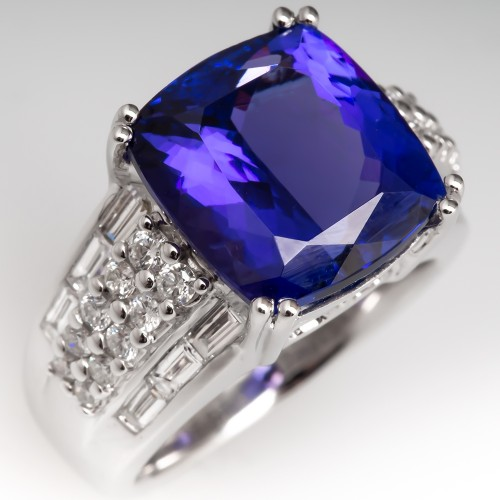 9 Carat Cushion Cut Tanzanite Wide Band Diamond Ring