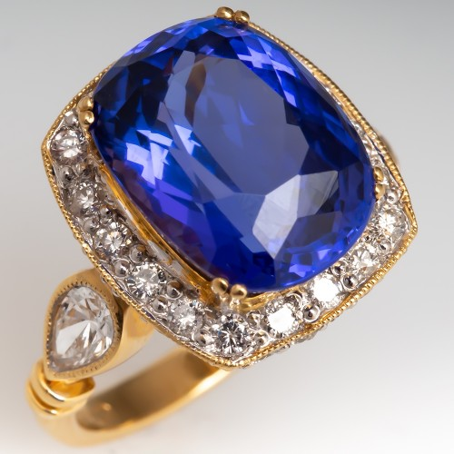 Large Cushion Cut Tanzanite Diamond Halo Cocktail Ring Yellow Gold