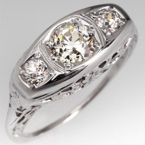 1930's Filigree Three Stone Diamond Ring