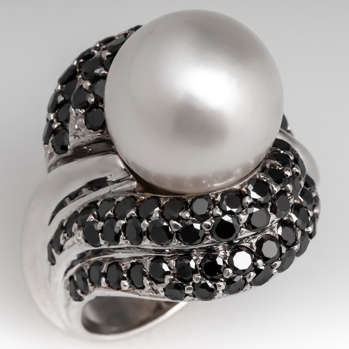 Cultured South Sea Pearl & Black Diamond Cocktail Ring 18K White Gold
