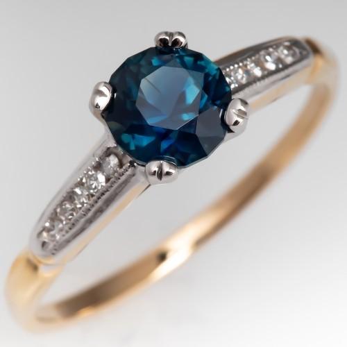 Blue Green Sapphire & Diamond Vintage Engagement Ring