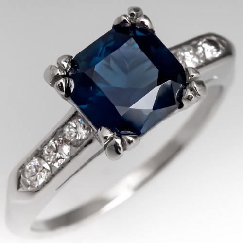 Square Cut Blue Green Sapphire Engagement Ring