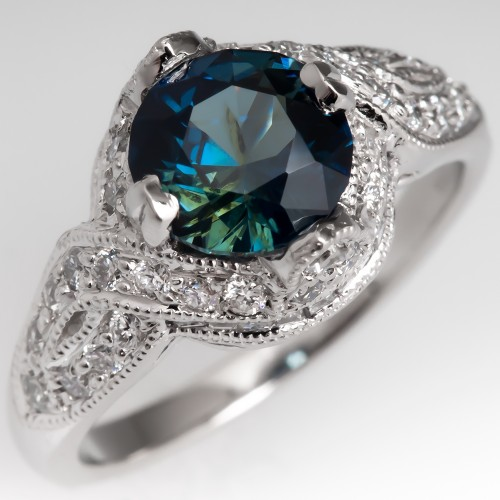 Bright Blue Green Sapphire Platinum Engagement Ring