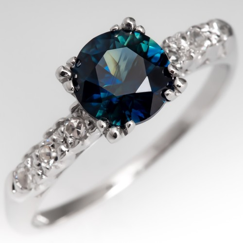Dark Blue Green Sapphire Engagement Ring Vintage 14K Gold Diamond Mounting