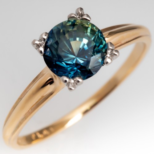 Vintage Yellow Gold Solitaire No Heat Blue Green Sapphire Ring