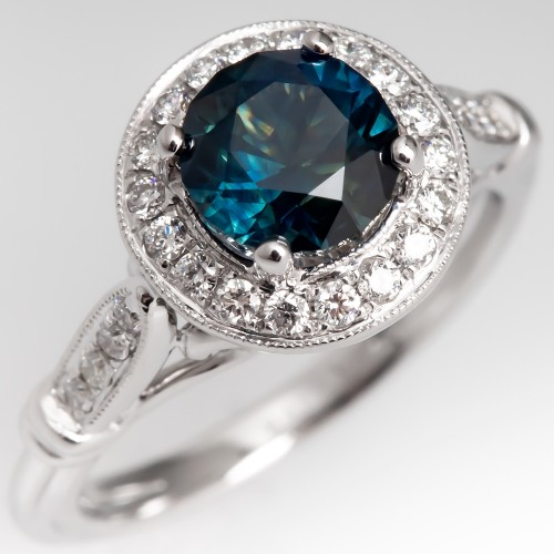 Dark Green Blue Sapphire & Halo Diamond Engagement Ring 18K