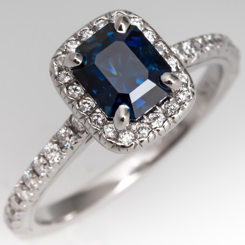 Emerald Cut Blue Sapphire & Diamond Halo Ring 14K White Gold