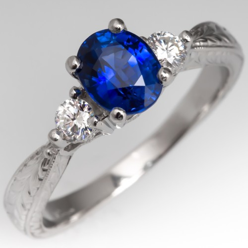 Platinum Blue Sapphire & Diamond Engagement Ring