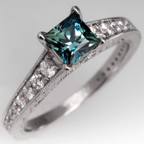No Heat Princess Cut Blue Green Sapphire Engagement Ring 14K White Gold