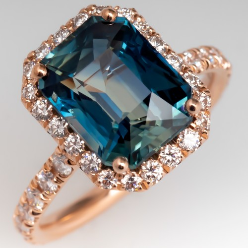 Natural Parti Colored Sapphire Ring 14K Rose Gold Diamond Halo