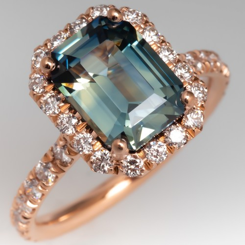 Natural Pastel Blue Green Sapphire Ring w/14K Rose Gold Diamond Halo