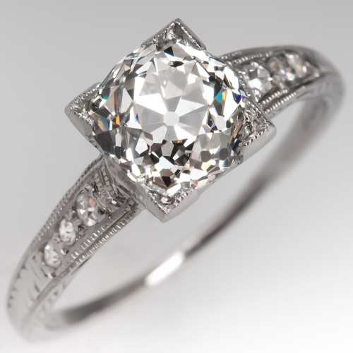 Edwardian Diamond Engagement Ring 1920's Platinum GIA 1.42Ct Old Mine