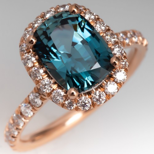 Beautiful Rose Gold Diamond Halo No Heat Teal Sapphire Ring