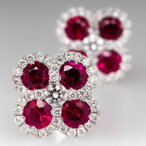 Spark Natural Ruby & Diamond Stud Earrings 18K White Gold