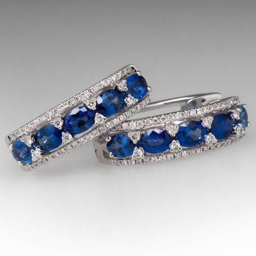 Spark Designer Sapphire & Diamond Hoop Earrings 18K White Gold