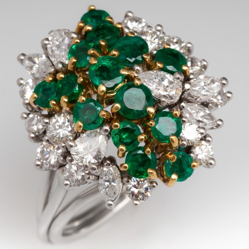 Estate Natural Emerald & Diamond Cluster Ring Platinum & 18K Gold