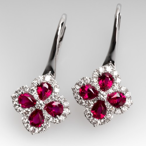 Spark Red Ruby & Diamond Drop Earrings 18K White Gold