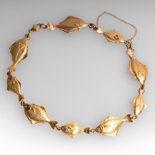 Just for the Halibut Bracelet 14K Yellow Gold 9 Inch